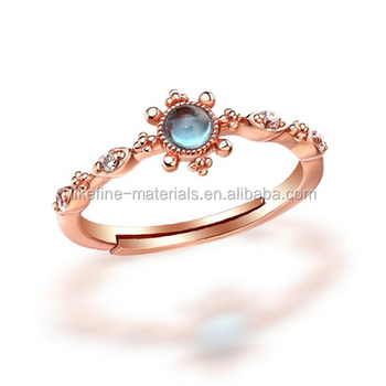 New Jewelry Rose Gold Plated Moonstone Sun Design Rings Buy Sun