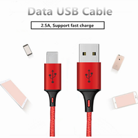 Factory Direct Sale Briaded 1M Cord Multi-Function USB Charger Cable For Mobile Phone