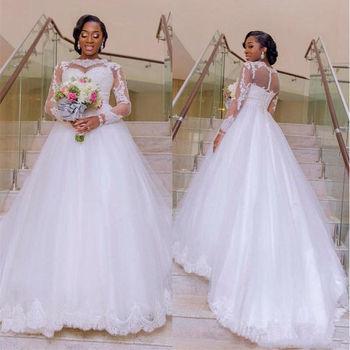 Bl012 White Lace Long Sleeve A Line Elegant Transparent Bride Gown ...