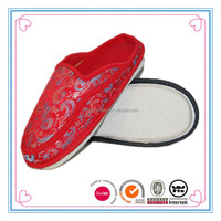 Chinese style flat women cotton slippers