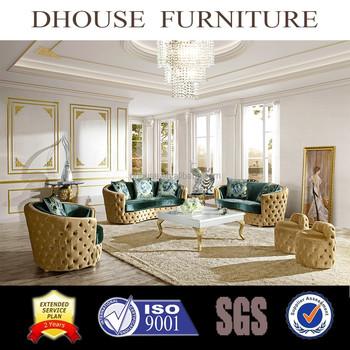 European New Classic Italian Home Decor Chesterfield Design Fabric Sofa Set  AL033