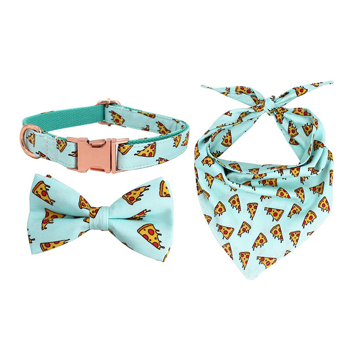 2019 amazon hot sale pet products adjustable  bowtie pet dog collar with  rose gold metal buckle
