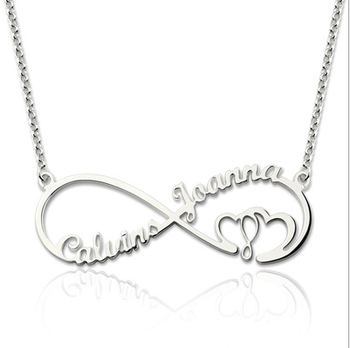 1e13ce63e1dd 925 plata esterlina personalizado dos nombre Infinity Collar para mamá y  hija nombre personalizado collares joyería