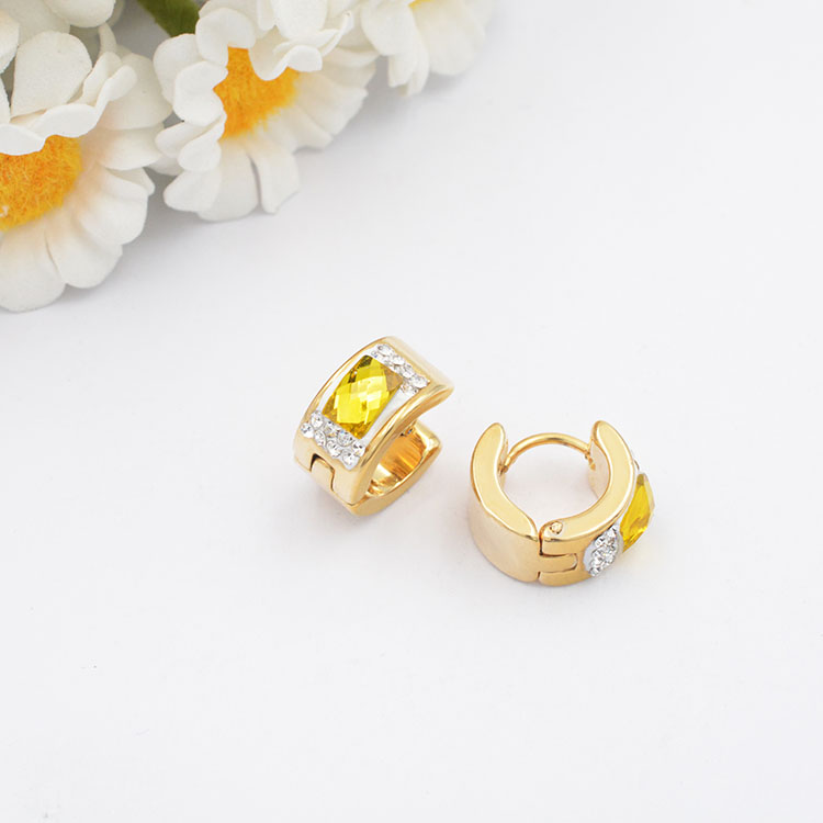 wholesale women 18k plated gold crystal gem hoop earrings