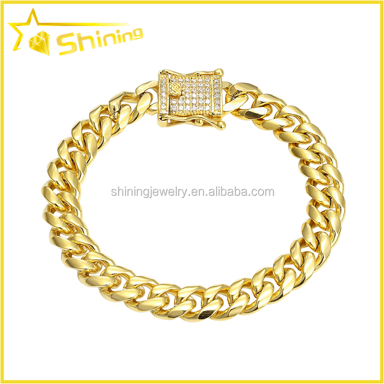 hot sale style 12mm 9 inches PVD gold plating cuban bracelet with cz clasp