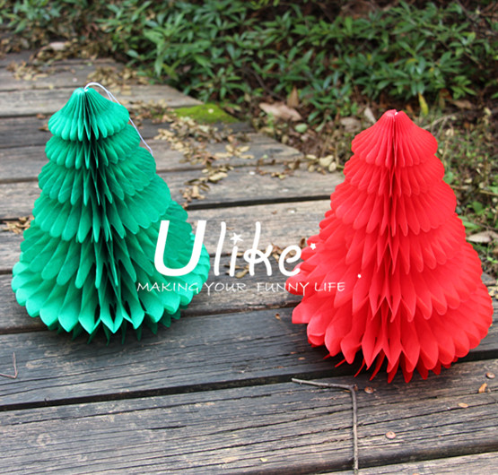 Honeycomb christmas paper decorations/ tissue paper christmas tree