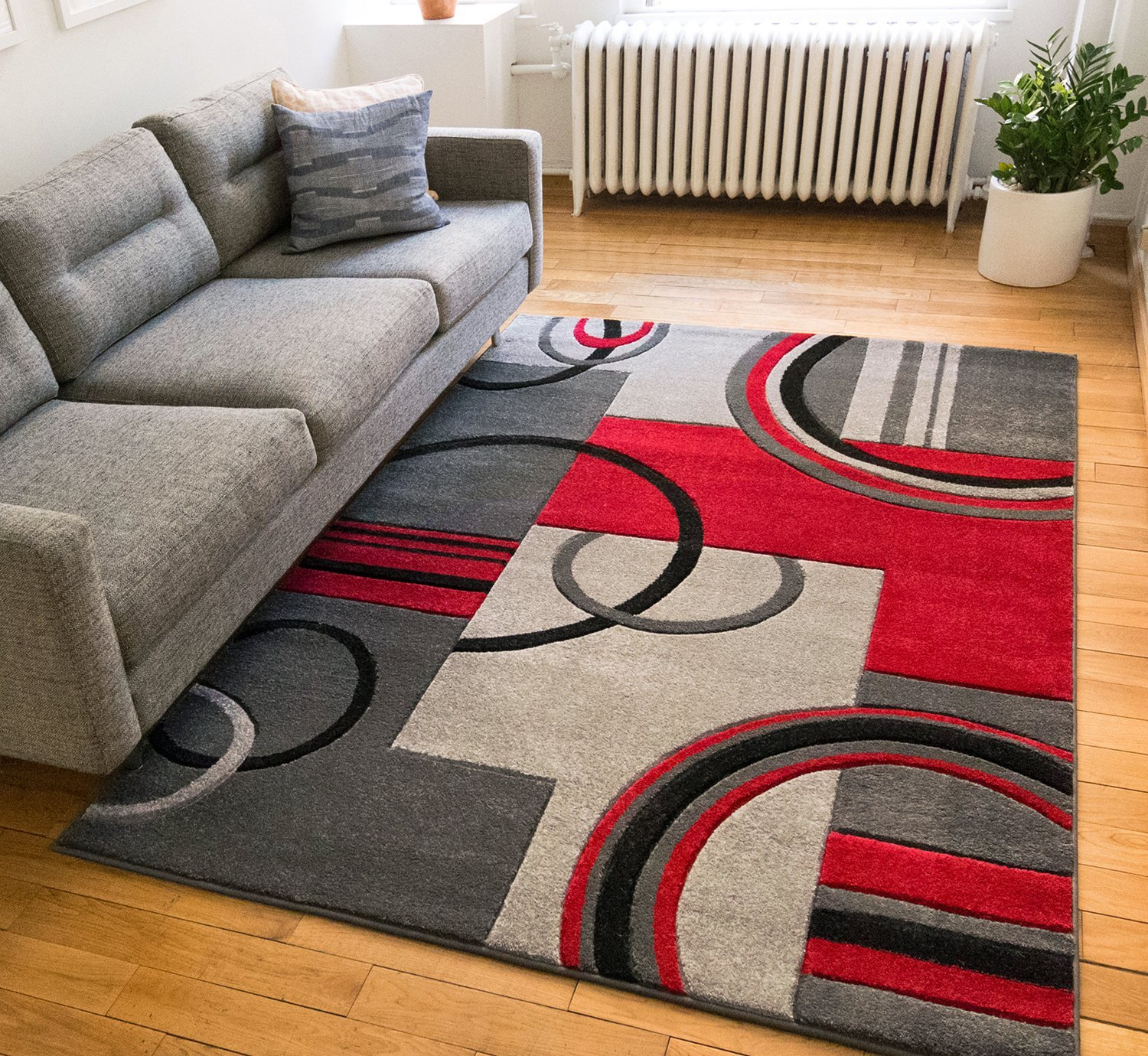 """Echo Shapes & Circles Red / Grey Modern Geometric Comfy Casual Hand Carved Area Rug 5x7 ( 5'3"""" x 7'3"""" ) Easy Clean Stain Fade Resistant Shed Free Abstract Contemporary Thick Soft Plush Living Room"""