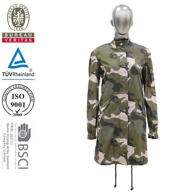 2017 winter women long camouflage jacket
