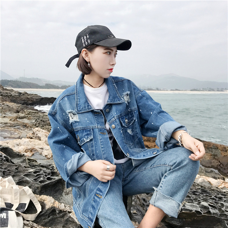 Spring and Autumn Korean Edition Fertilizer and Bigger Size Jeans Top 200 Kinds Fat MM Loose Slender Hole Jeans Coat