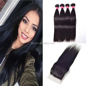 Peruvian Virgin Human Hair Straight With Closure 3 Bundles Straight Hair With Middle Free Three Part Lace Closures for DIY