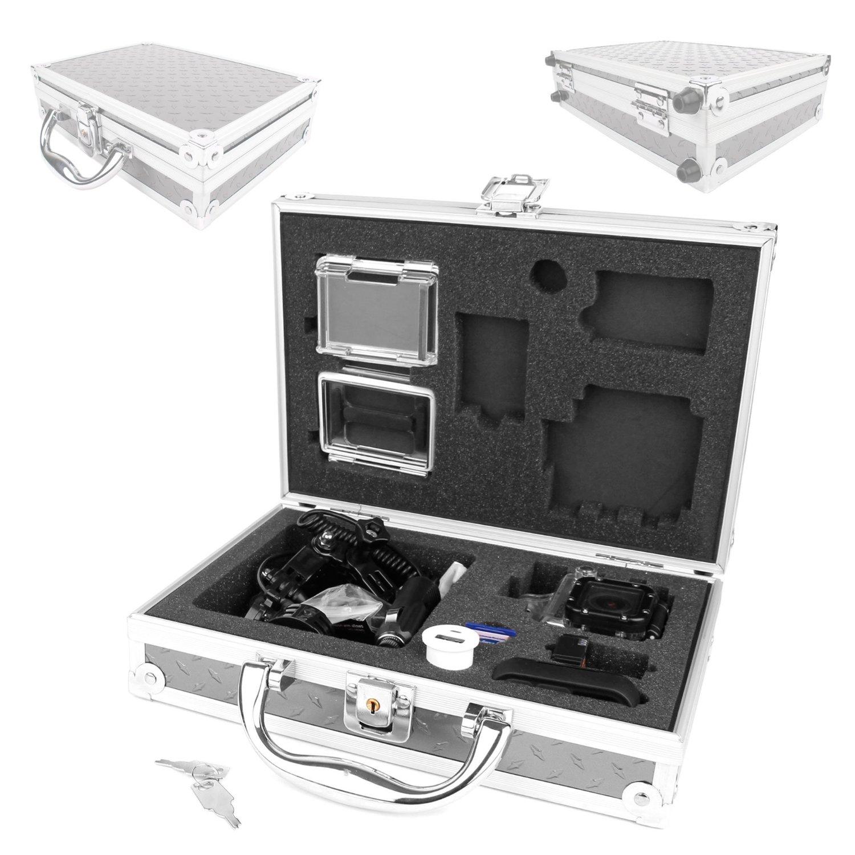 DURAGADGET Protective Contemporary Aluminium Flight Case With Shock Absorbing Custom Foam Interior For GoPro Headcams Including GoPro Hero 4, GoPro Hero 3 AHDBT-301 Camcorder - (Black, Silver and White Editions), HERO3+ (Plus) CHDHX-302 / CHDHN-302, Hero 2, Hero 1, HD Hero 960 Cameras