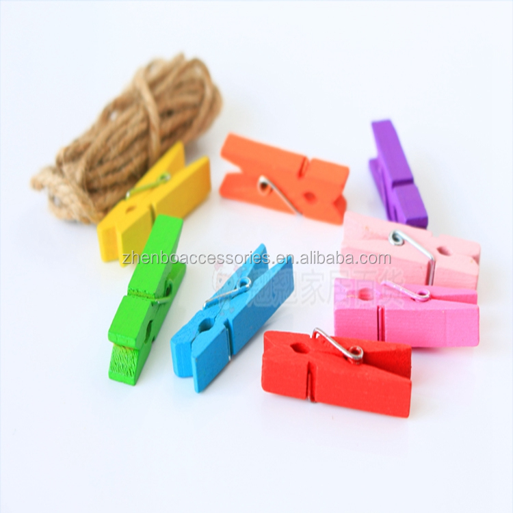 Zhenbo Wholesale color wooden photo <strong>clip</strong>, 20pcs/bag
