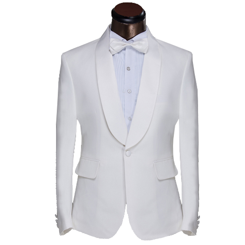 2015 New Arrival Men Suit Elegant Design White Mens Slim Prom Tuxedo Suits With Pants Fashion Groom Wedding Suits For Men Waiter