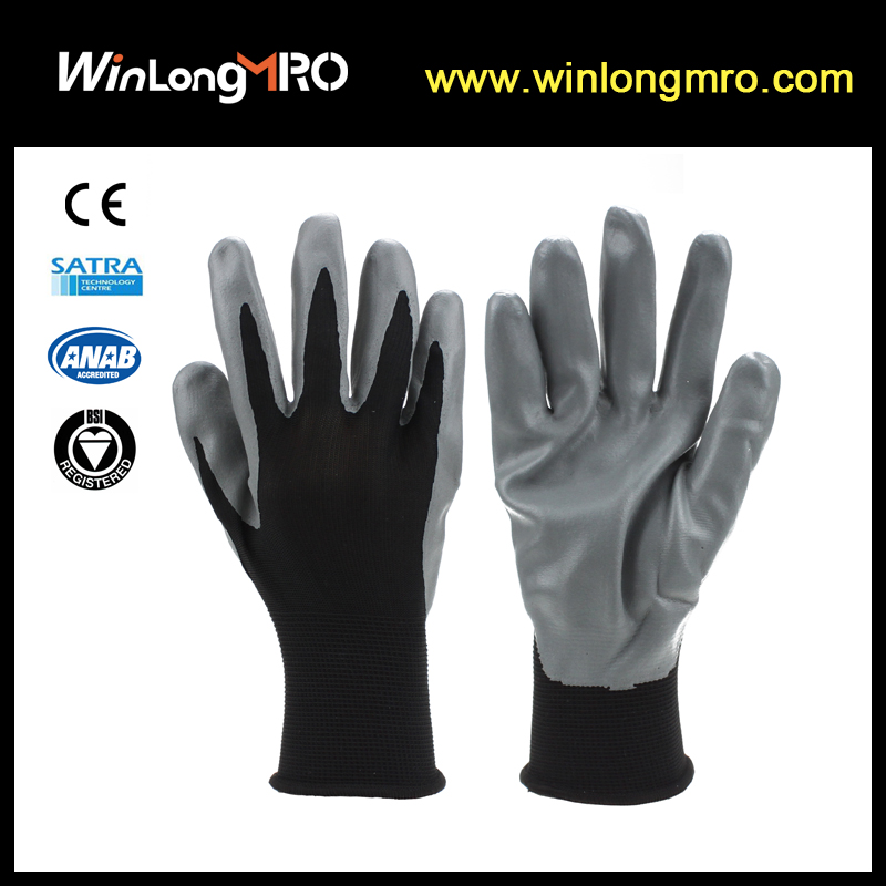 nitrile dipped palm foam grip safety gloves