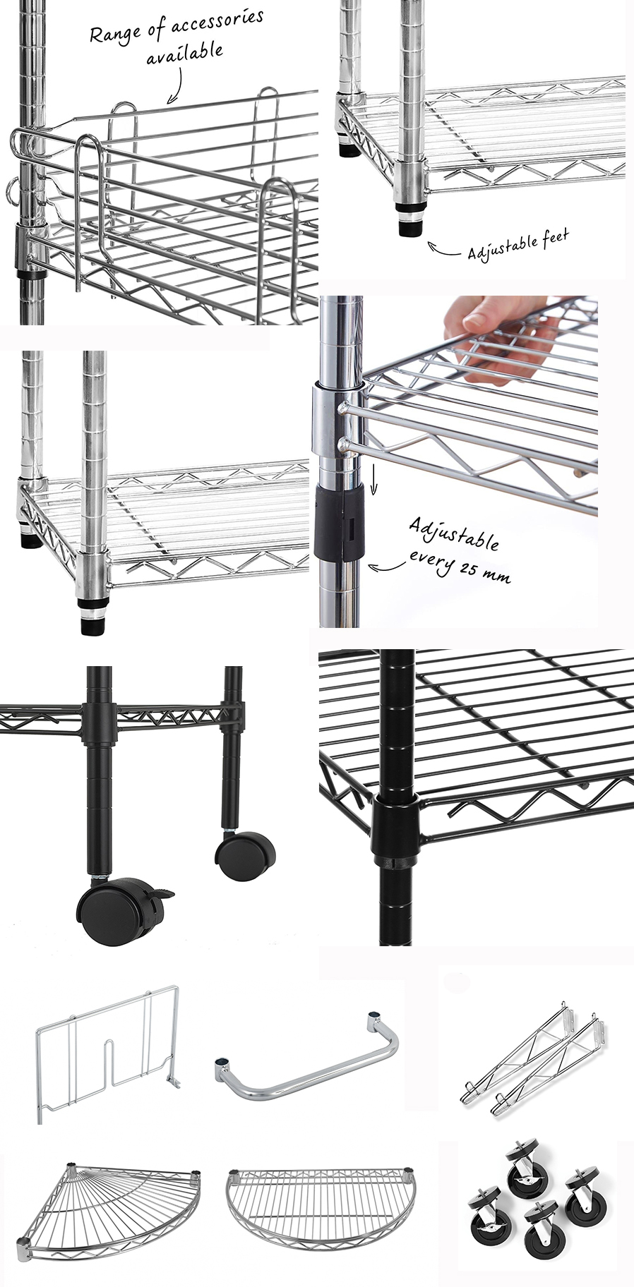 Storage Shelving Rack Powder Black Wire Shelves Four Tier Epoxy Paint Surface treatment
