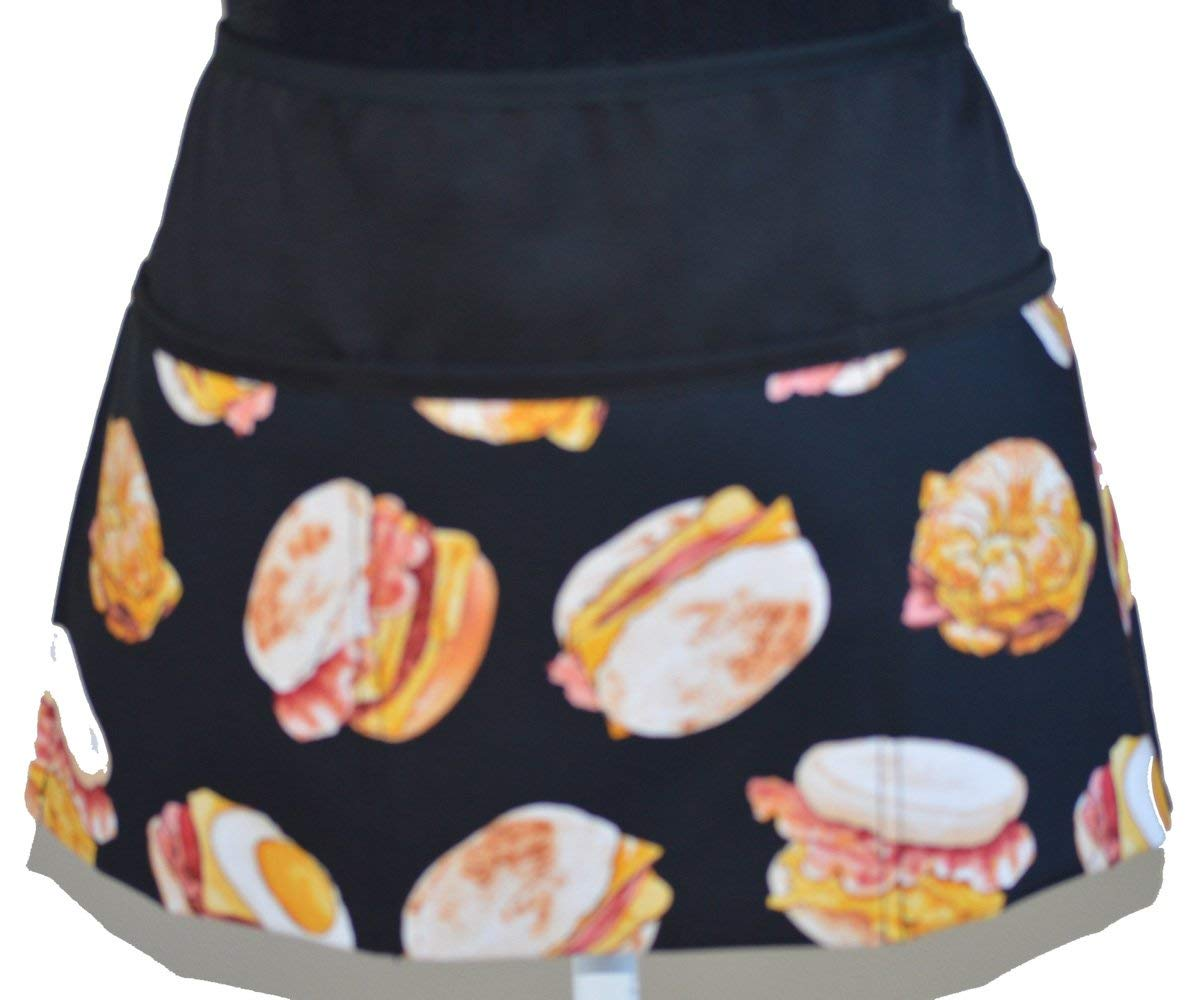 3 pockets waist apron kitchen cooking restaurant bistro craft garden half aprons for men bakers servers waitress carftsman waiter belgium waffles breakfast dessert print (black)