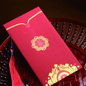 Custom Cmyk Gold Uv Chinese Wedding Money Red Pocket Envelope