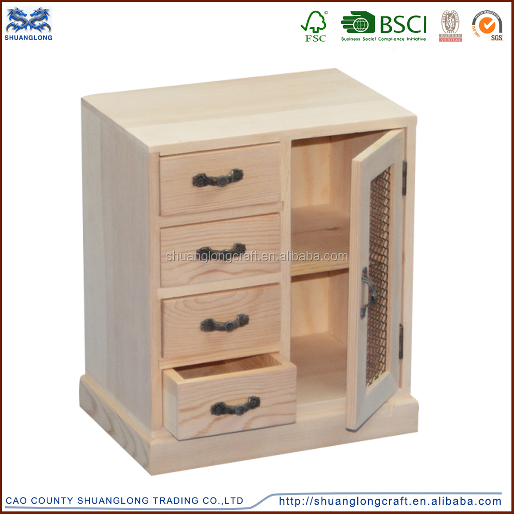 Handmade Unfinished Solid Wood Cabinet Small Drawers