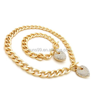 Women S Pave Filled Heart Pendant Cuban Link Chain Bracelet Set In Gold Silver Color Plated Rose