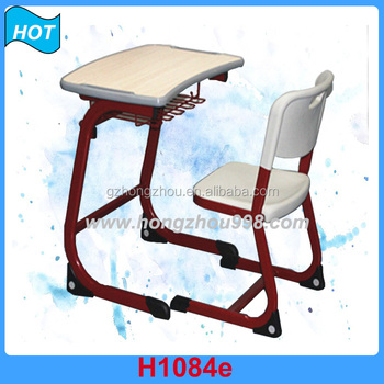 School Desk And Chair Metal Frame Wooden Student Desk Chair