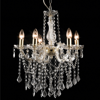 5 Lights Acrylic Droplets Brass Marie Therese Chandelier NS-120201 ...