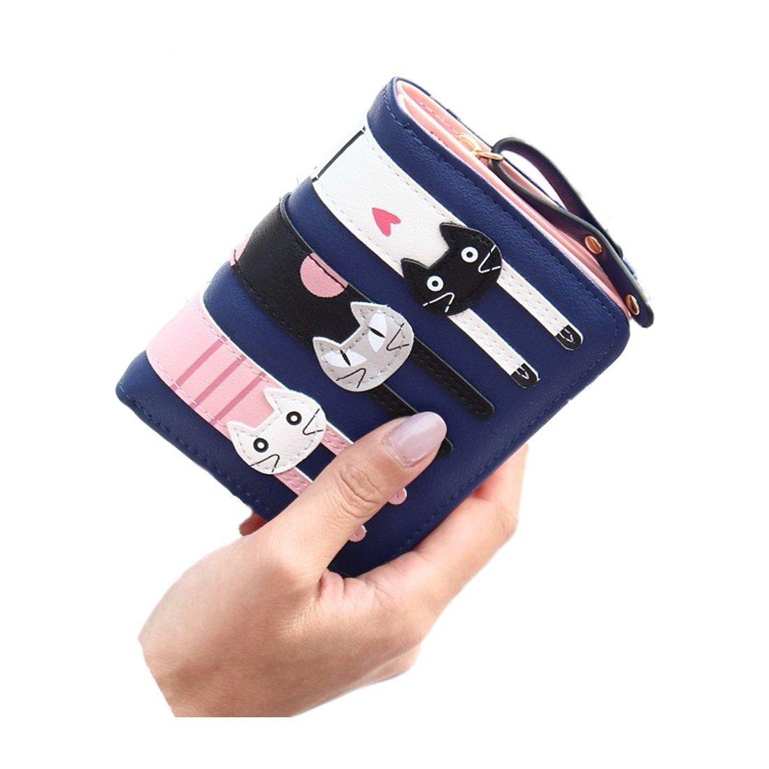 Women Wallet - TOOGOO(R)New Fashion Women Cat Wallet Cartoon purse Female Card Holder Lady clutch coin purse Female zipper£¨Short Blue£
