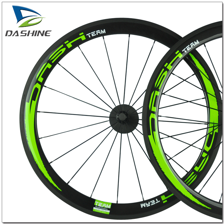50mm 3k Glossy Road Bike Wheels Green Colored Carbon Rims With