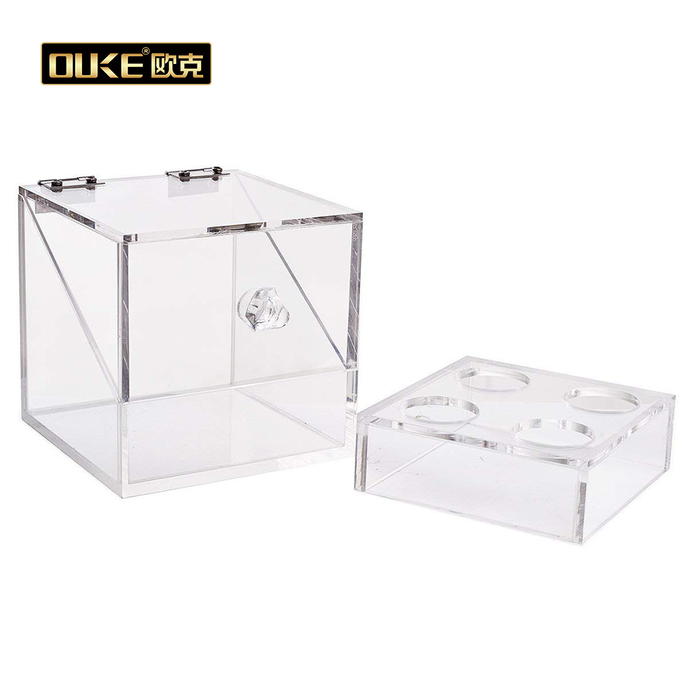 China Suppliers Acrylic Makeup Sponge Holder 4 Slots Box with Lid