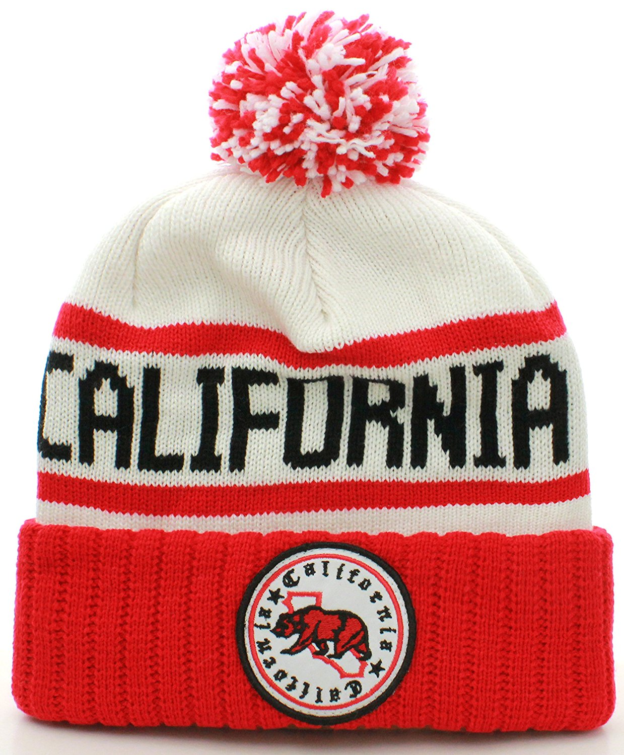 6783b3cd78a2e7 Get Quotations · American Cities California Republic Cuff Beanie Cable Knit  Pom Pom Hat Cap