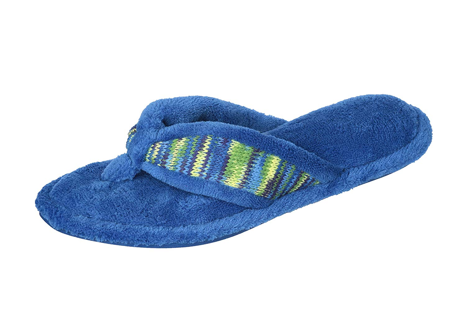 b09c19a3d06 Get Quotations · Joan Vass Woman s Terry Fuzzy Spa Flip Flop Slippers  Elegant Style