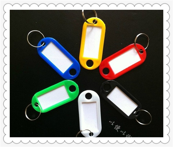 Mix Color Plastic Keychain Key Tags Id Label Name Tags With Split Ring For Baggage Key Chains Key Rings 48*22MM