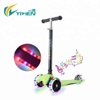 Wholesale rubber handle three wheel kids scooter with led light