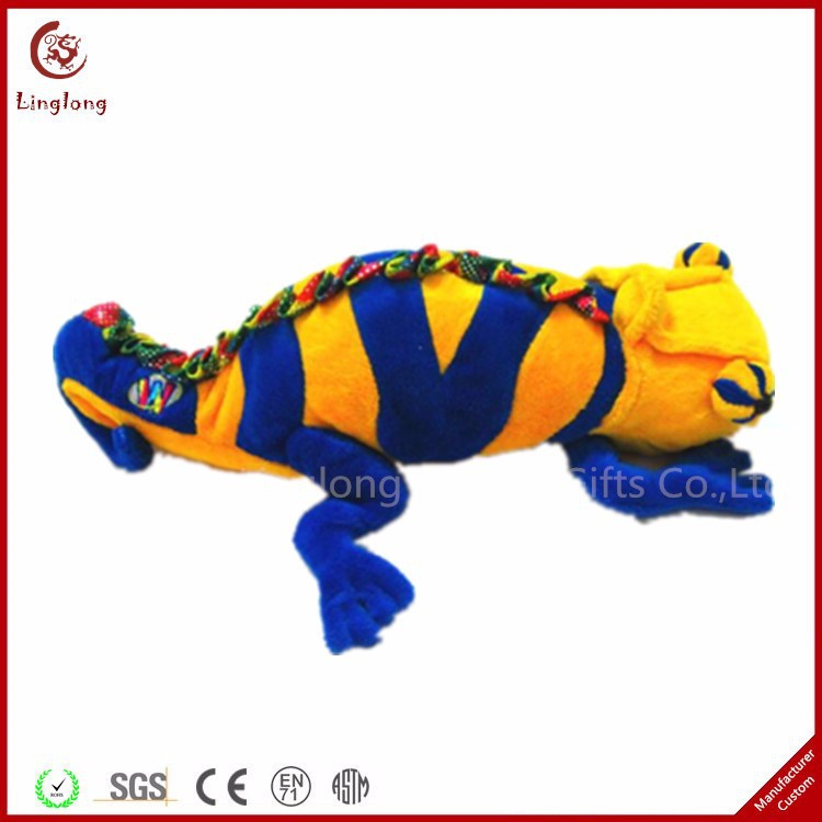 Blue and yellow stripes plush lizard toy soft stuffed lizard doll cartoon reptiles animal toys