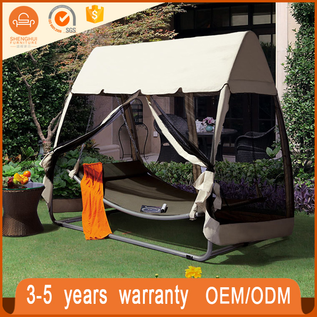 Hot selling cheap outdoor swing garden rocking chair hanging basket bed with tent and gauze shade