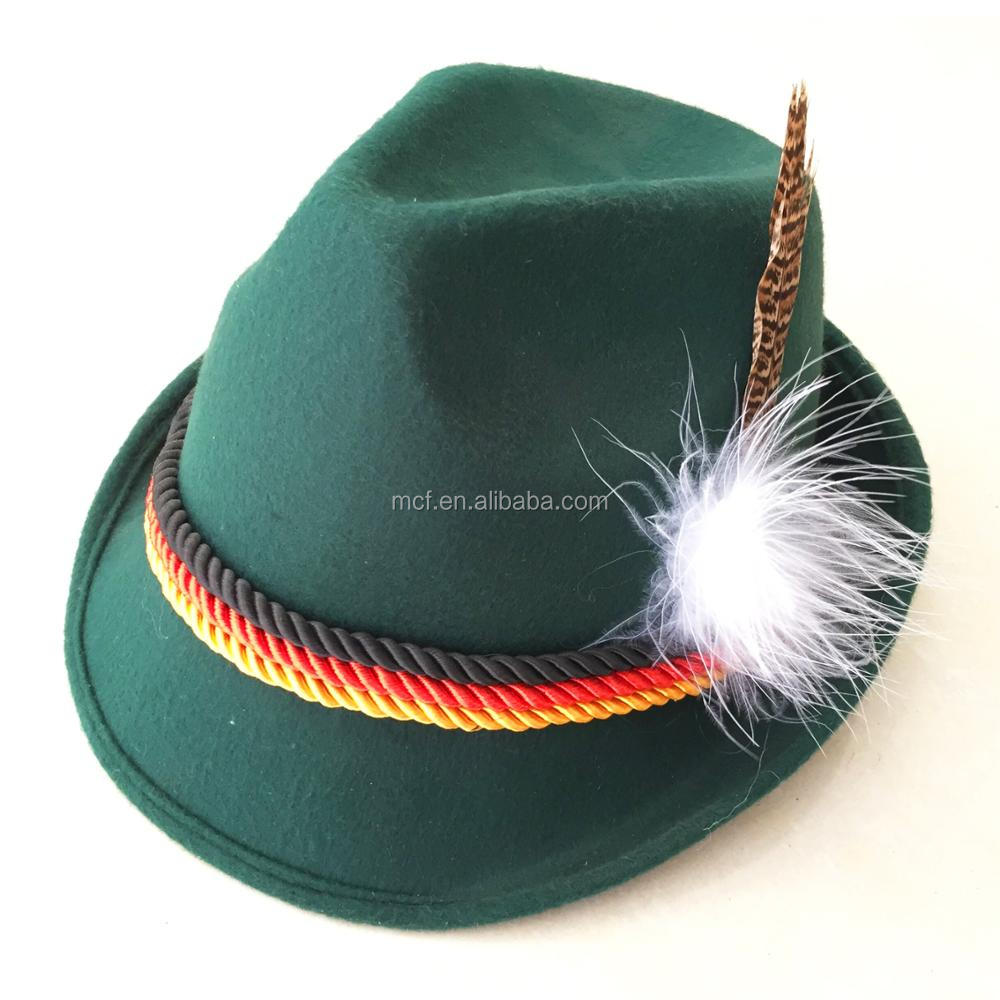 7a1a485d7c7 2017 New design party novelty Peter Pan hat custom logo Green Pointed hat  with feather for