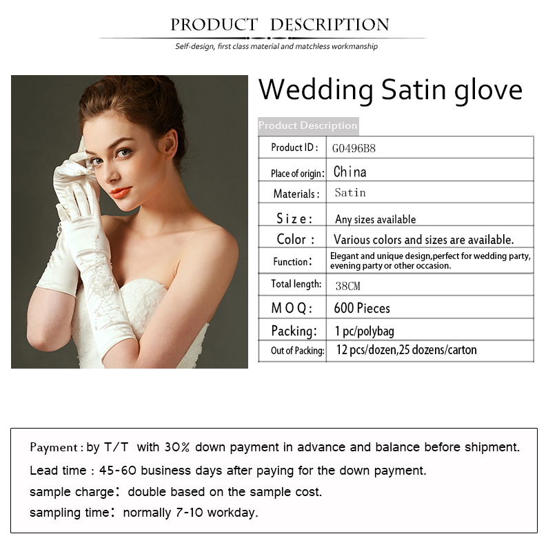 G0496B8 Factory supply hot sale wedding hand gloves for bride