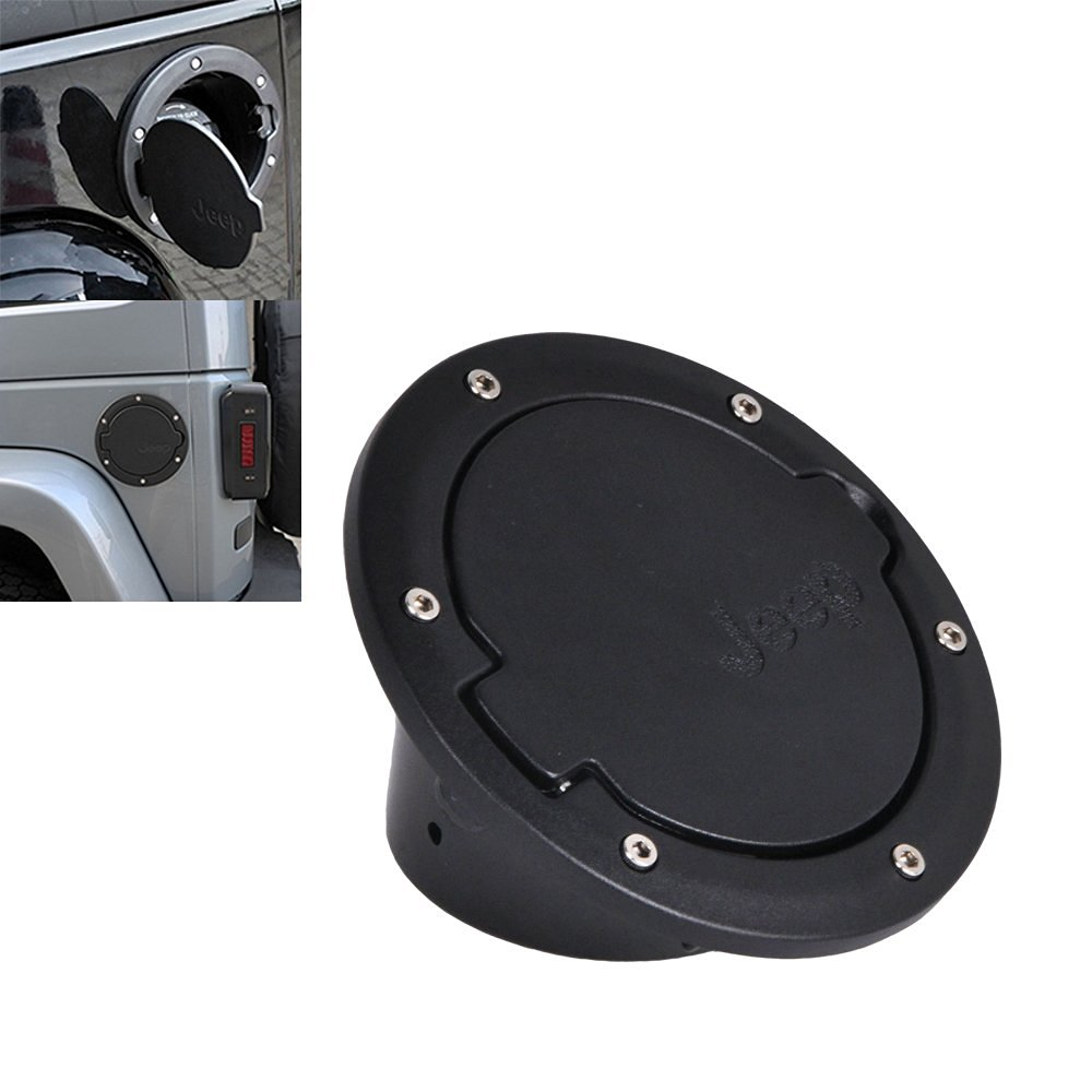 Omotor Jeep Wrangler JK Black Gas Tank Cap Cover Door Fuel Filler Door fit for 2007 - 2015 Jeep Wrangler JK & Unlimited