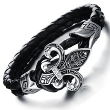 Wholesale NEW Fashion jewelry Punk Retro Stainless Steel Black Genuine leather Personality Cool Men Bracelet male Bangles CH847