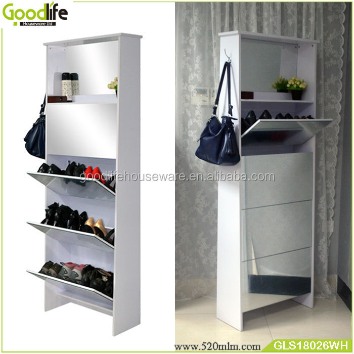 China Express Wooden Open Shoe Cabinet With Mirror