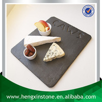 Handmade Wholesale Natural Edge 30*25*0.5cm Rectangle Black Personalised Grooved Decorative Slate Food Serving Plate