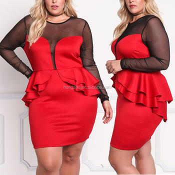 5fb95354f4d16 Plus Size Plunge Mesh Peplum Long Sleeve Bodycon Dress For Fat Women  Clothing HSd5049