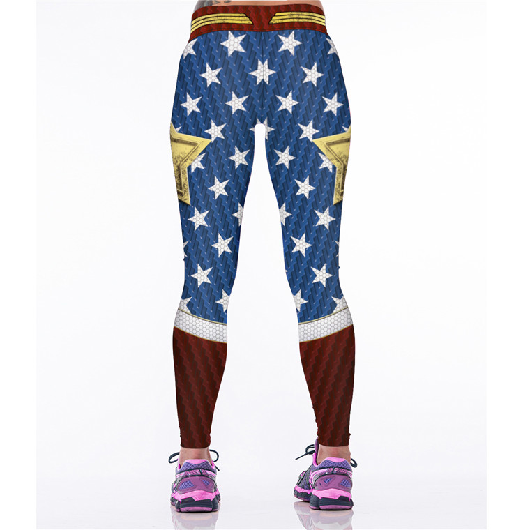 Wonder Woman Sport Fitness Costume High Waist Stretch Gym Trousers Workout Leggings