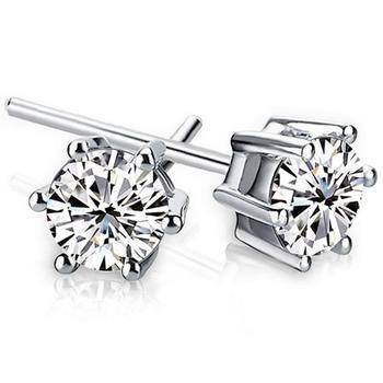 6mm Crystal Earrings 6 Angle Zircon Earring Stub Zirconia