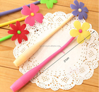 Silicone Long and flower shaped promotion Pen CH-6843Gift Grass shape ball pen Silicone Ball Pen
