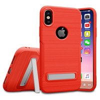Anti Knock Shockproof Brushed Real Silicone Rubber Carbon Fiber TPU Phone Case Back Cover With Stand For iPhone X/7/7 Plus