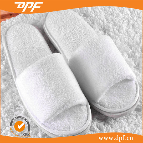 Hotel High Quality disposable amenity White Terry towel open toe adult slippers