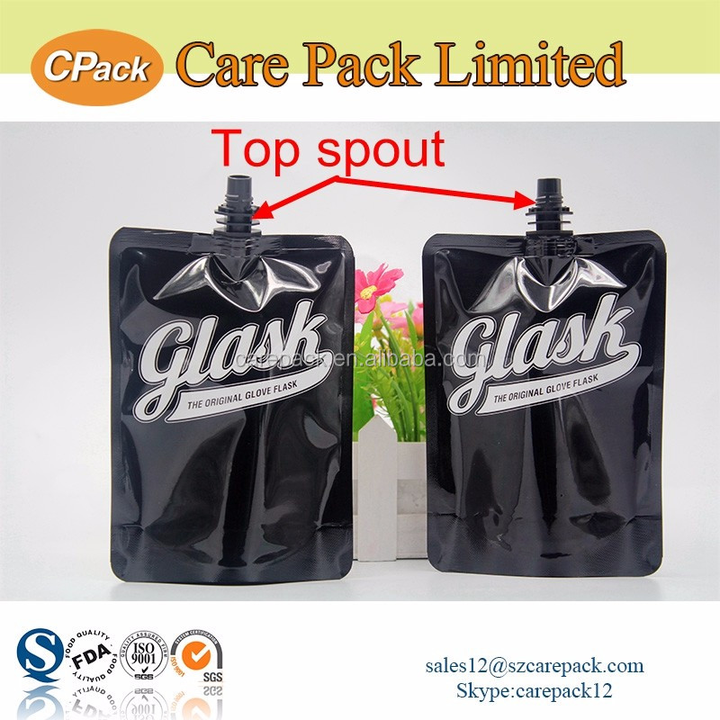 Custom logo printed liquid spout pouch packaging bag for drinks