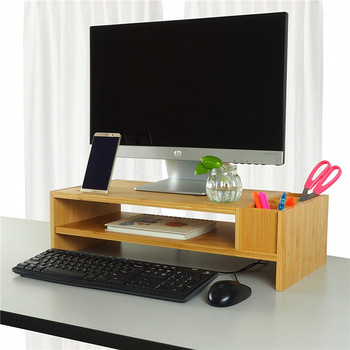 durable bamboo monitor riser stand