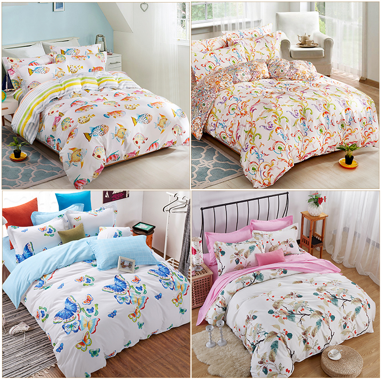 Newest Exquisite Design 300 Thread Count 100% Cotton Hypoallergenic Beautiful Patchwork Sets Bed Sheet