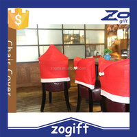 ZOGIFT Xmas chair cover with santa image Christmas hat chair cover